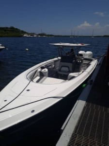 Barracuda 36ft center console boat with The Element bow dodger from Marine Canopy boat shade bow tent canvas cabin