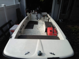 Boston Whaler 14ft tiller drive boat with Marine Canopy bow dodger tent sleeping on the boat tent camping