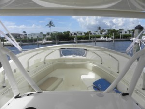 Cobia 277 center console boat fishing trip sleeping on center console boat