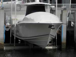 Cobia 296 Center console bow dodger