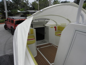 Concept Cuddy 34' center console boat shade with The Element bow dodger, boat tent, bow shelter canvas cabin