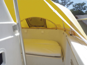 Glacier Bay power catamaran The Element Bow dodger solution, boat shade