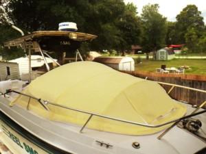 Bow Dodger marine canopy boat shade, prefab cabin
