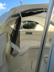 Hydra-Sports 2600 Vectorcenter console boat with bow dodger sun shade tent from Marine Canopy