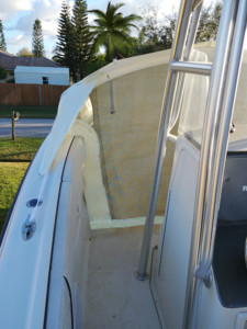 Hydra-Sports 2600 Vector center console boat fishing charters with bow dodger bow tent cabin by Marine Canopy