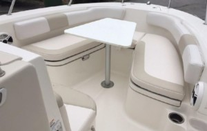 Robalo R200 center console boat with bow dodger by Marine Canopy