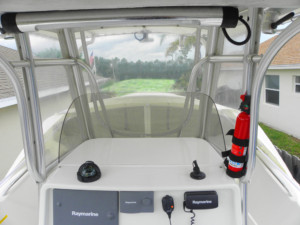 Sailfish 2360 CC center console boat shade bow dodger marine canopy