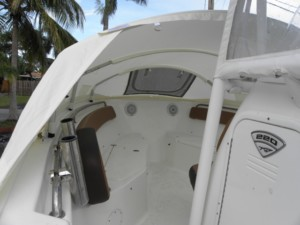 Tidewater 220 LXF center console fishing boat sportsman sleeping on center console boat
