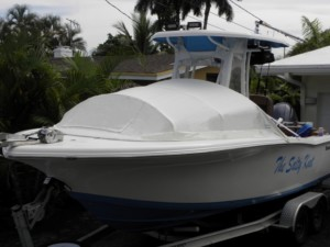Tidewater 220 LXF center console fishing boat with bow shade canvas tent cover by Marine Canopy