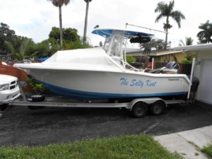 Tidewater 220 LXF photo center console fishing boat family boating trip bow dodger cabin sprayhood