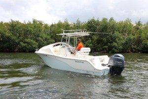 Sea Fox 226 center console boat bow dodger