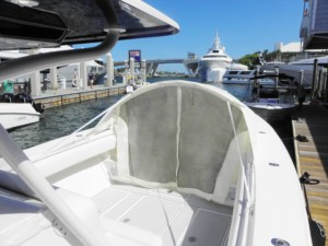 SeaHunter 40' with The Element bow dodger instnt cabin bow shade cover