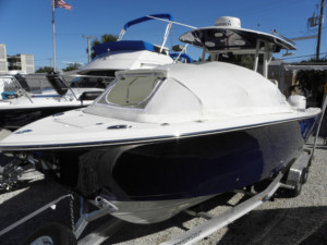 2017 Cobia 277 center console fishing boat family boating trip bow dodger bow tent cabin