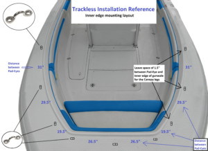 Trackless bow dodger boat tent marine canopy