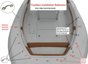 Trackless bow dodger for center console boats